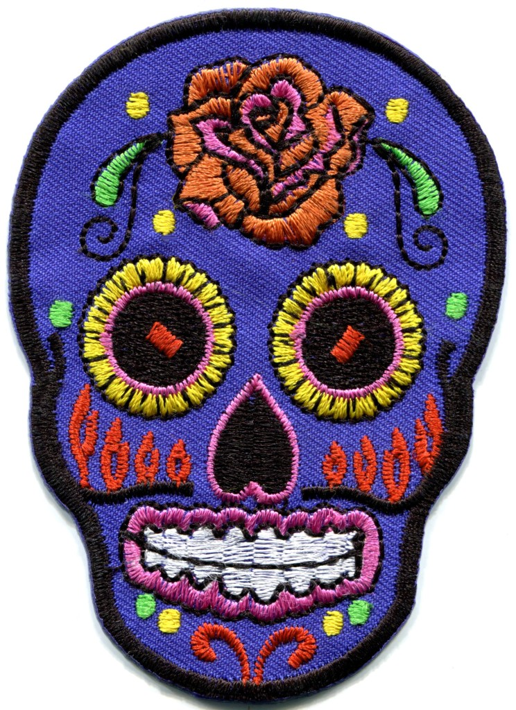 Sugar skull day of the dead calavera applique iron-on ...