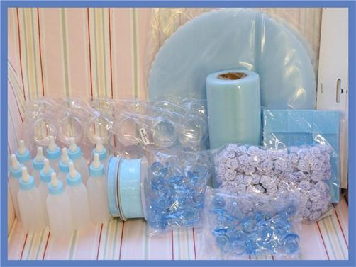 Boy Baby Shower Bottles Shoes Pacifiers Favor Table Decorations