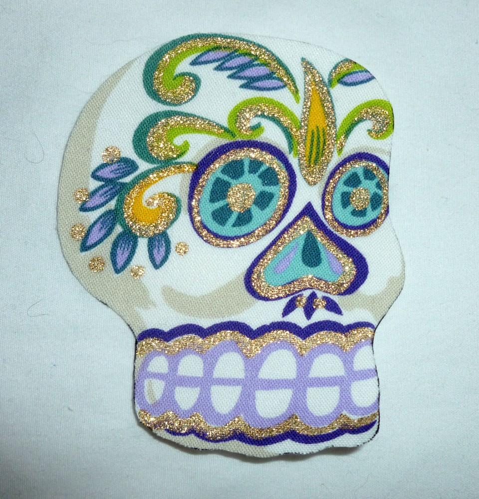 New Big Sugar Skull DIY Iron On Fabric Appliques T-shirt ...