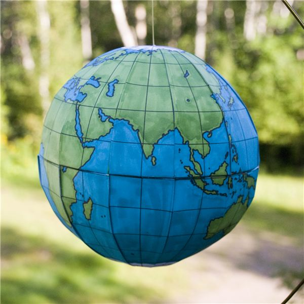 Use a free globe template to create a 3D model of the Earth