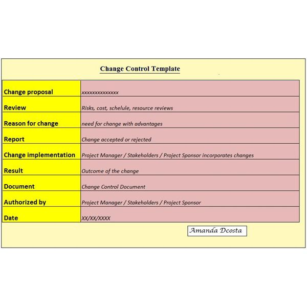 Download a free change control document