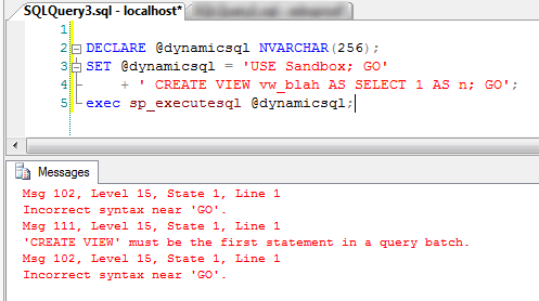 Dynamic SQL Statement Fail