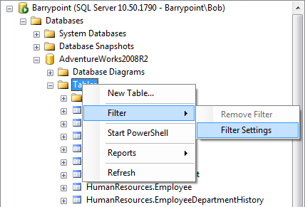 Wanted more object explorer filters bob pusateri sql server and in the images below youll see im filtering to only display tables whose schema name contains production to remove a filter right click on tables ccuart Images