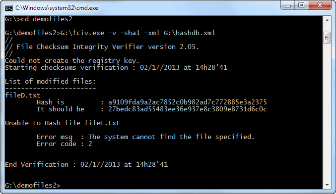 fciv file verify