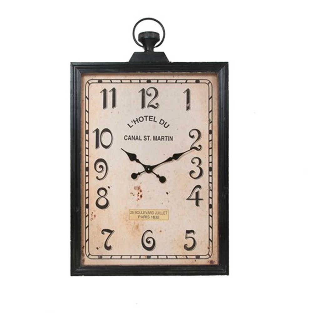 Relógio de Parede Canal St. Martin Retangular Marrom Pátina em Metal - 105x87 cm
