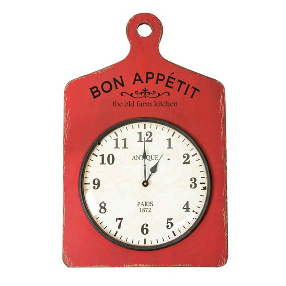 Relógio de Parede Bon Appétit Vermelho Envelhecido em Madeira - 70x45 cm