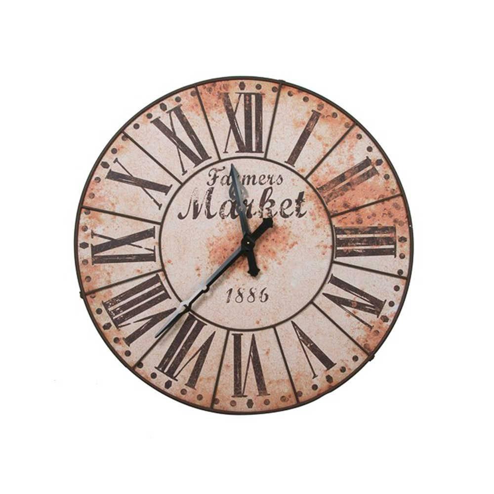 Relógio de Parede Farmers Market em Metal com Efeito Ferrugem - 117 cm
