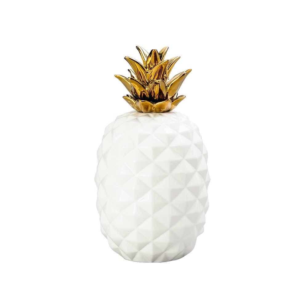 Abacaxi Decorativo Dourado em Cerâmica - Lyor Classic - 36,8x25 cm