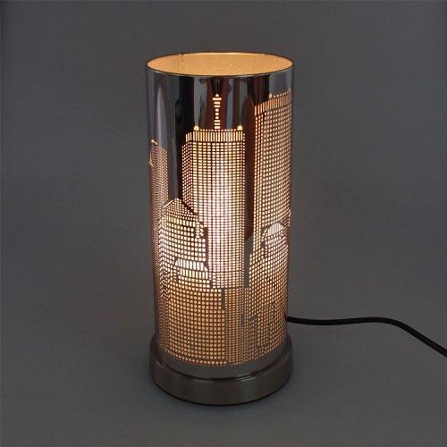 Abajur Cilíndrico Prédios em Metal - 28x14 cm