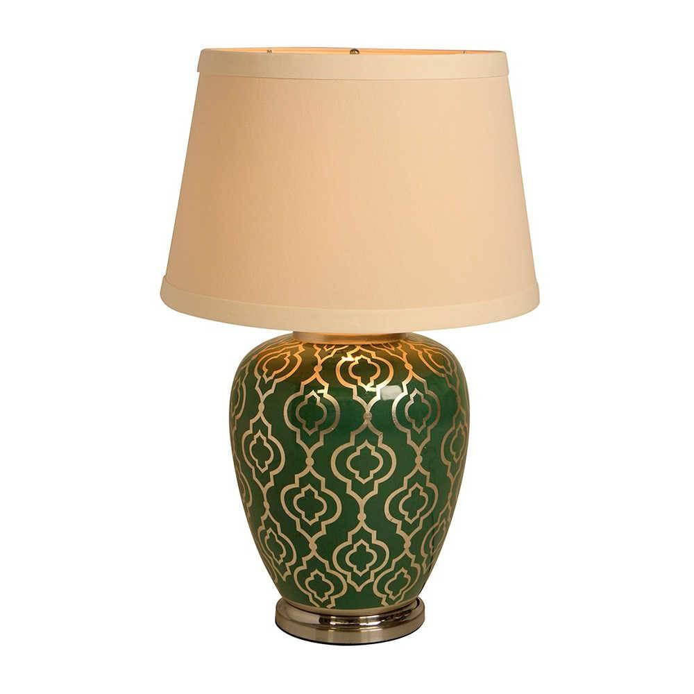 Abajur Clarice Verde e Dourado com Base em Porcelana e Cúpula em Tecido - 71x43 cm