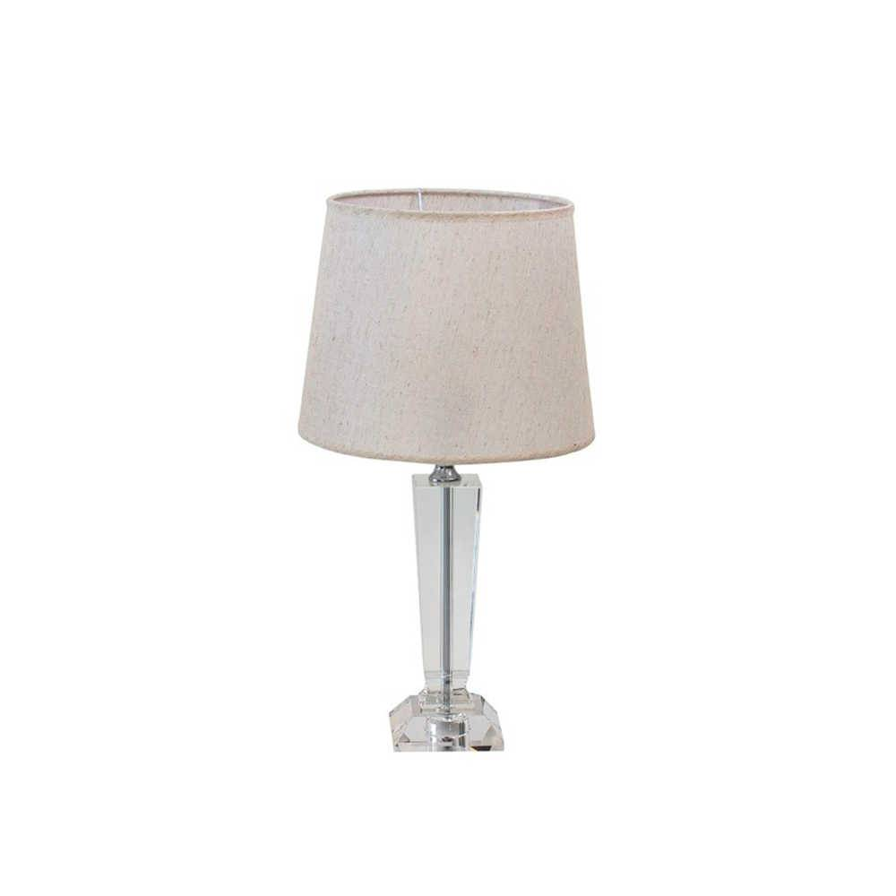 Abajur Cris Branco com Cúpula em Tecido e Base de Cristal - 50x26 cm