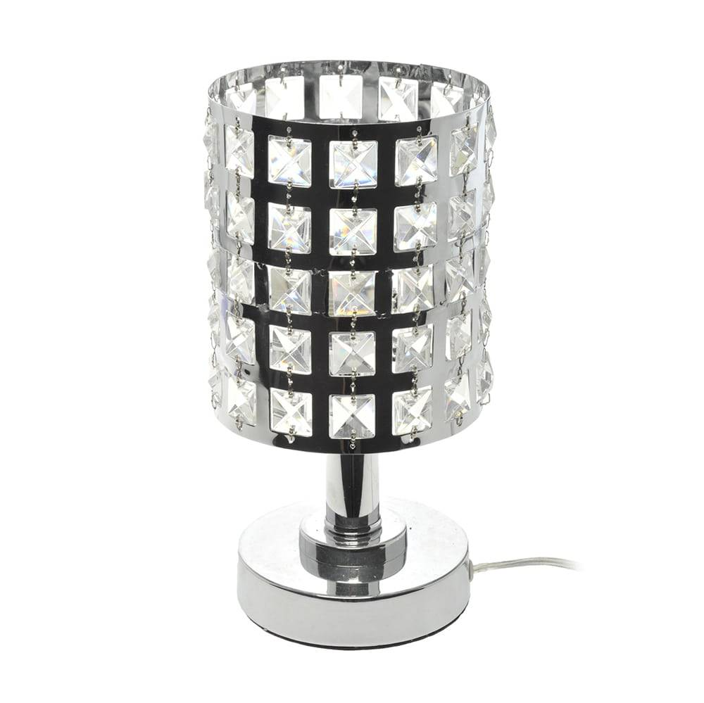 Abajur Cristal Prata/Transparente em Metal - 30x13 cm
