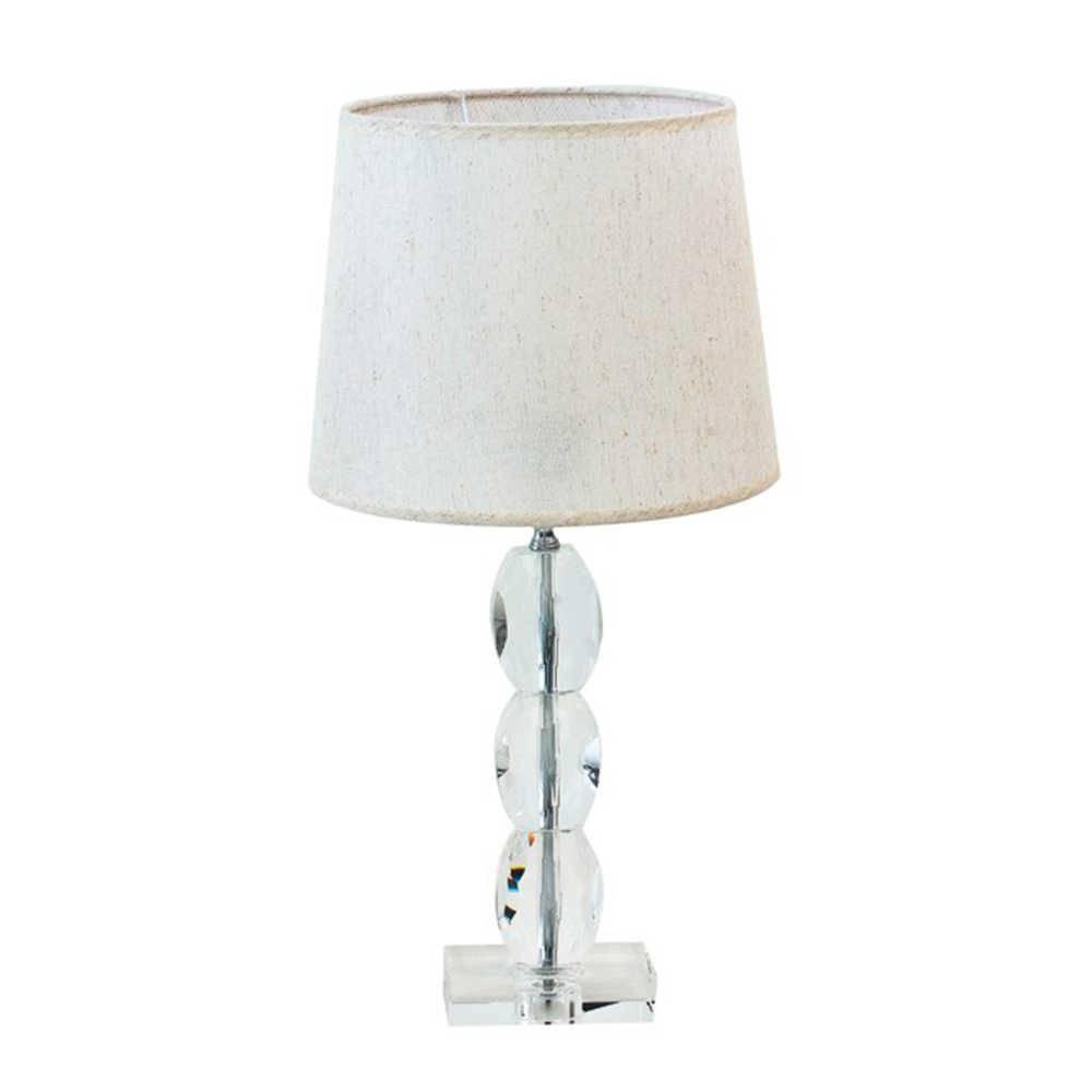 Abajur Firty Branco Envelhecido com Cúpula em Tecido e Base em Cristal - 52x27 cm