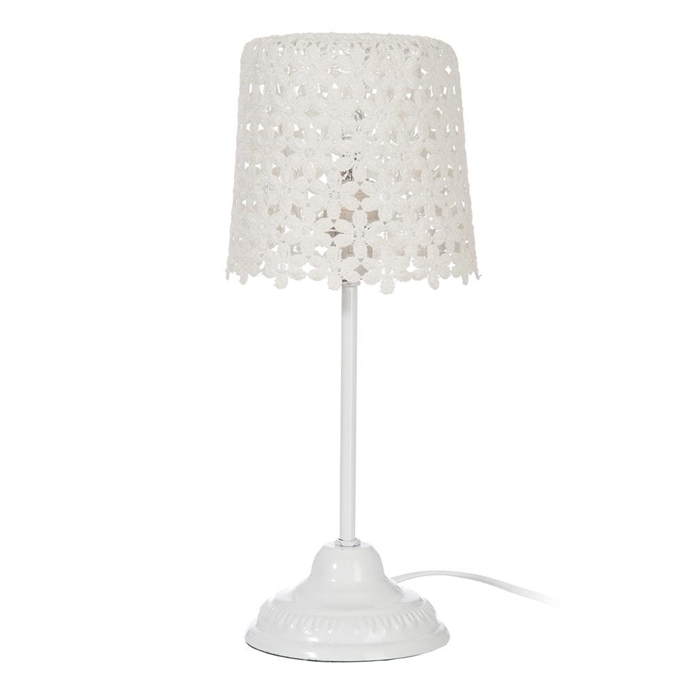 Abajur Lace Floral Branco em Alumínio - 35x17 cm