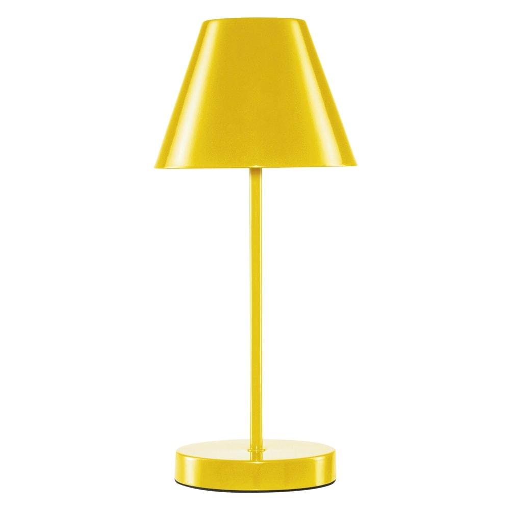 Abajur Lite Amarelo Bivolt em Metal - 35x15 cm