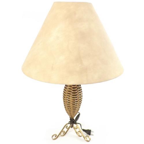 Abajur Luxo Com Cúpula Dourada - Em Junco Sintético Trançado - Lâmpada 60 W