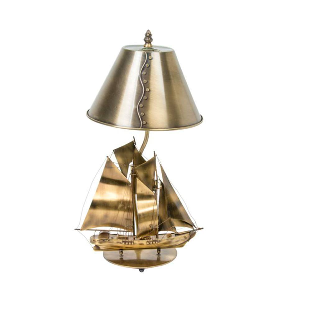 Abajur Navio Rústico Bronze em Metal - 45x25 cm