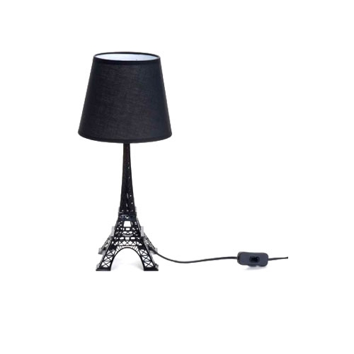 Abajur Torre Eiffel Preta em Metal - 42x13 cm