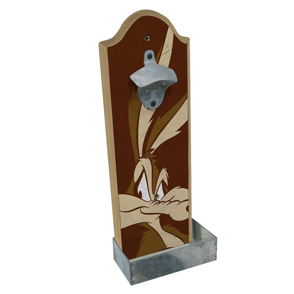 Abridor de Garrafa Looney Tunes Coyote Big Face Fundo Marrom em Madeira - 36x14 cm