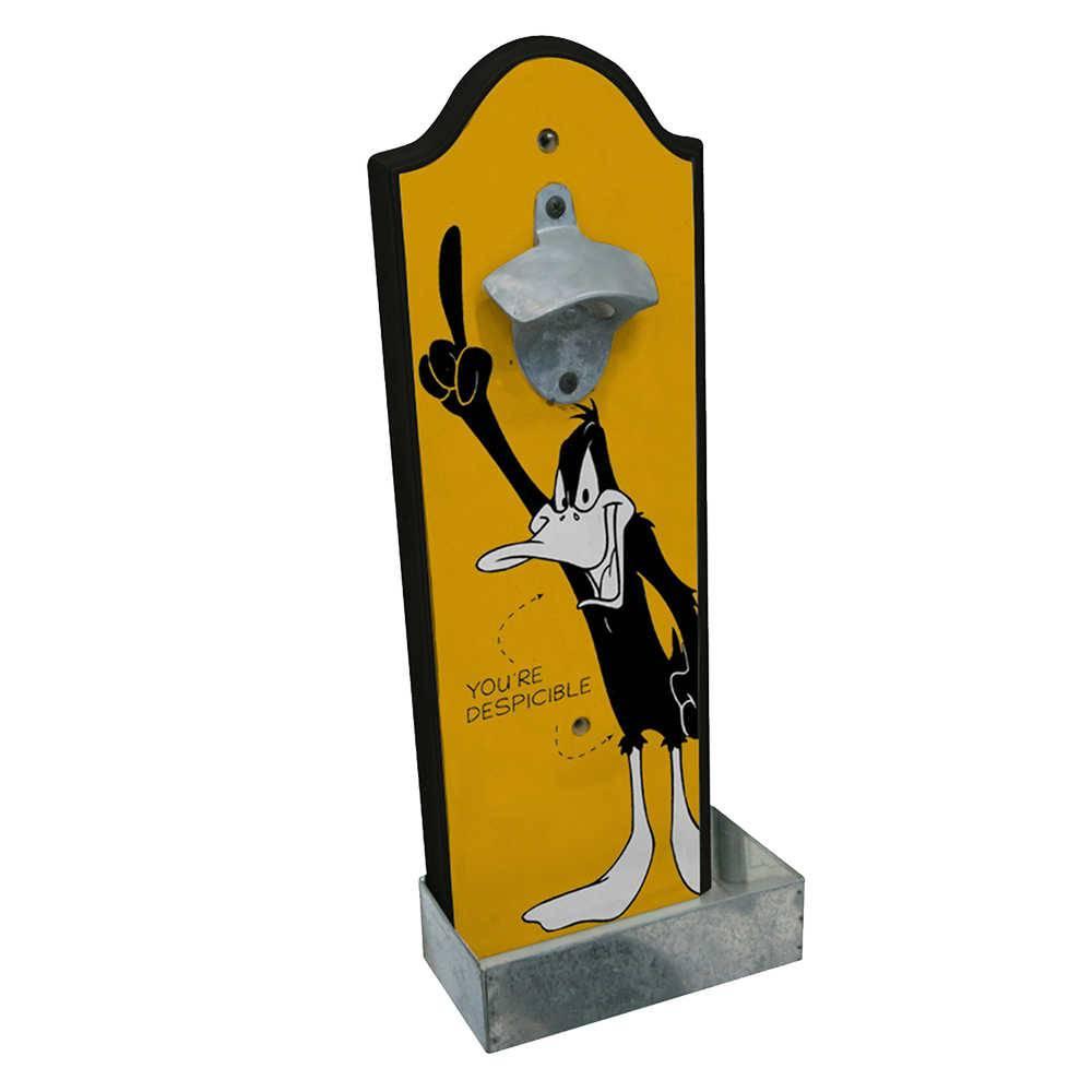 Abridor de Garrafa Looney Tunes Daffy Duck Screaming Amarelo em Madeira - 36x14 cm
