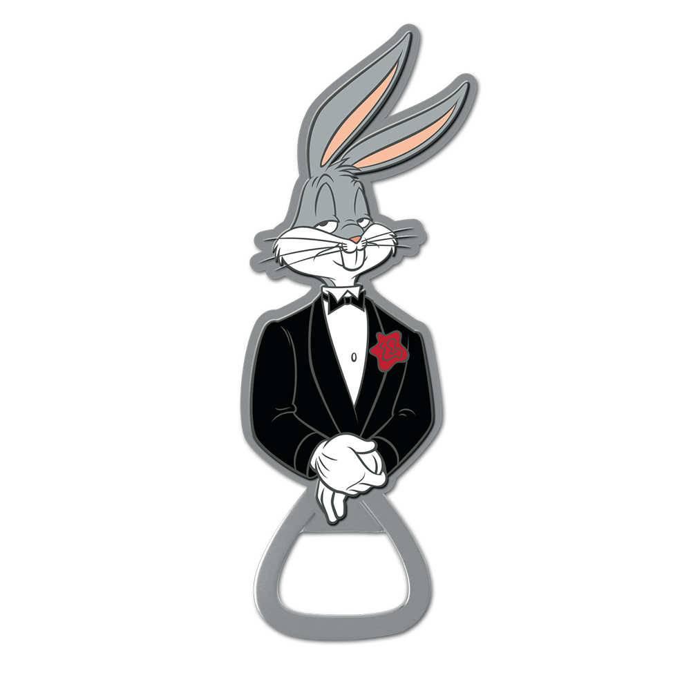 Abridor de Garrafas Looney Tunes Bugs Bunny Smoking Preto em Metal - 11x3,7 cm