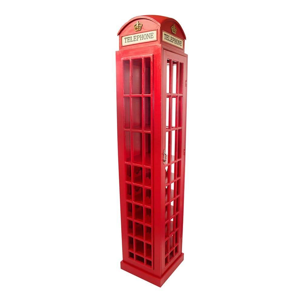 Adega Cabine Telefônica Vermelha Oldway Grande em Madeira - 211x44 cm
