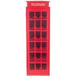 Adega Cabine Telefônica Vermelha Oldway - 18 Garrafas - em Madeira - 96x36 cm