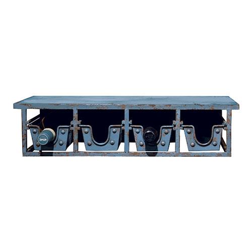 Adega de Parede Azul 4 Garrafas Oldway em Ferro - 53x26cm