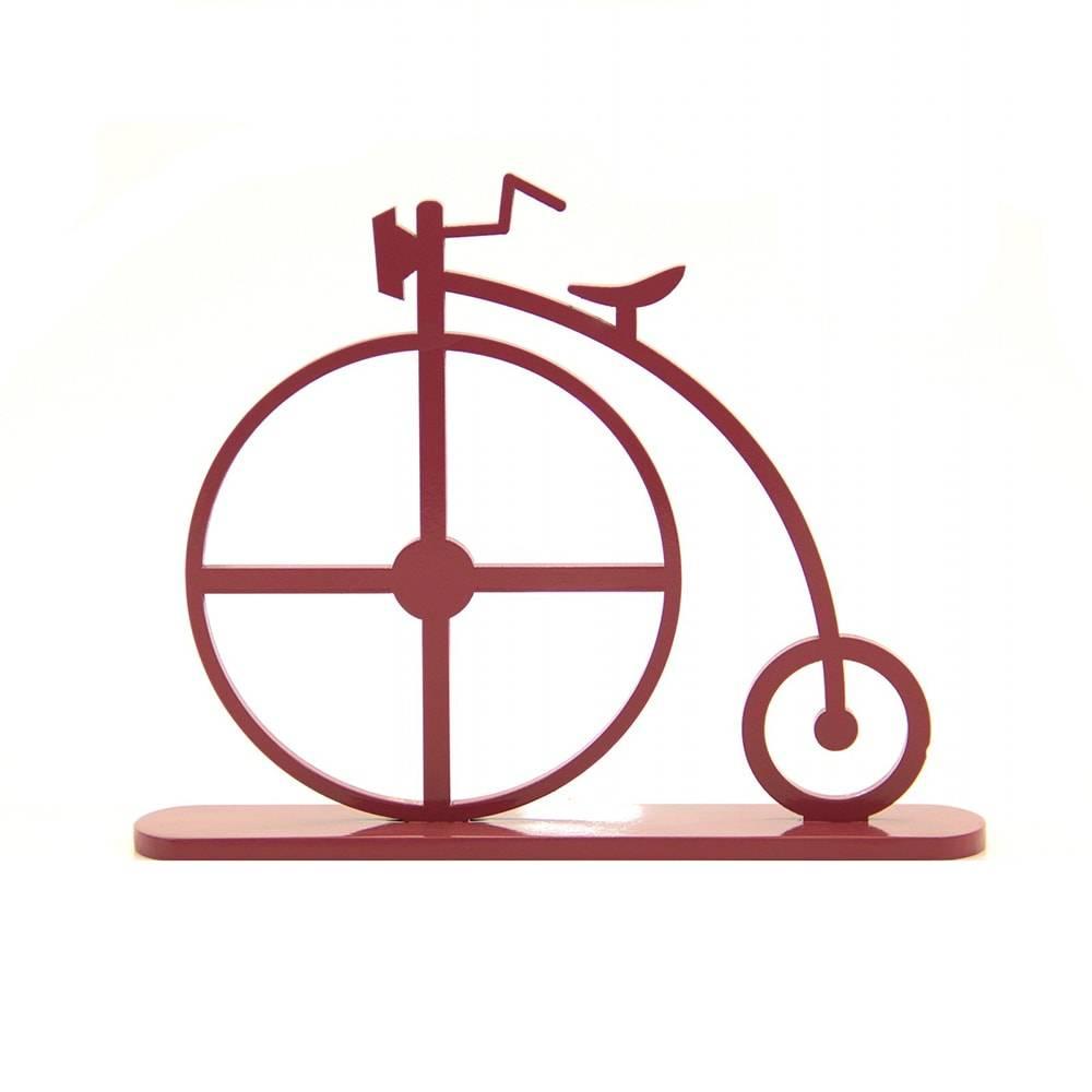 Adorno Bicicleta 1870 Marsala em MDF Laqueado - 30,3x23,6 cm
