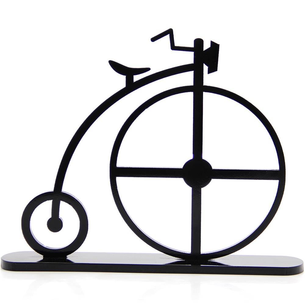 Adorno Bicicleta 1870 Preta em MDF Laqueado - 30,3x23,6 cm