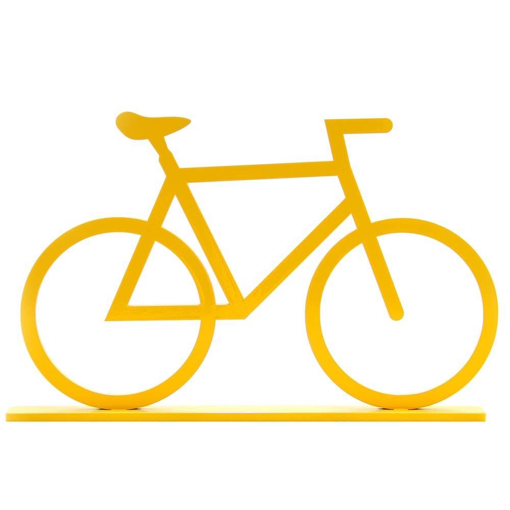 Adorno Bicicleta Amarela em MDF Laqueado - Grande - 33x20 cm