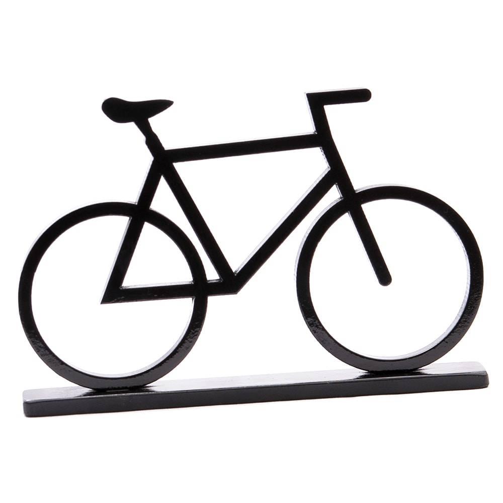 Adorno Bicicleta Preta em MDF Laqueado - Grande - 33x20 cm