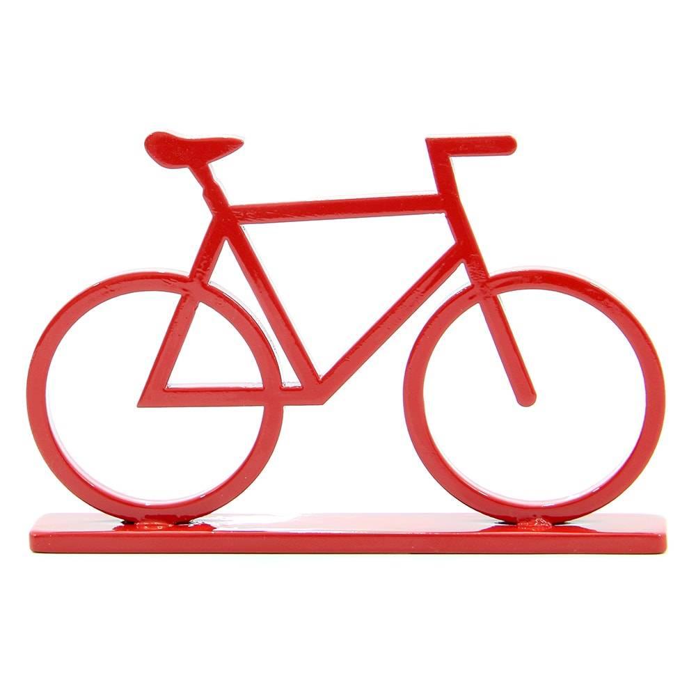 Adorno Bicicleta Vermelha em MDF Laqueado - Pequena - 17,5x10,8 cm