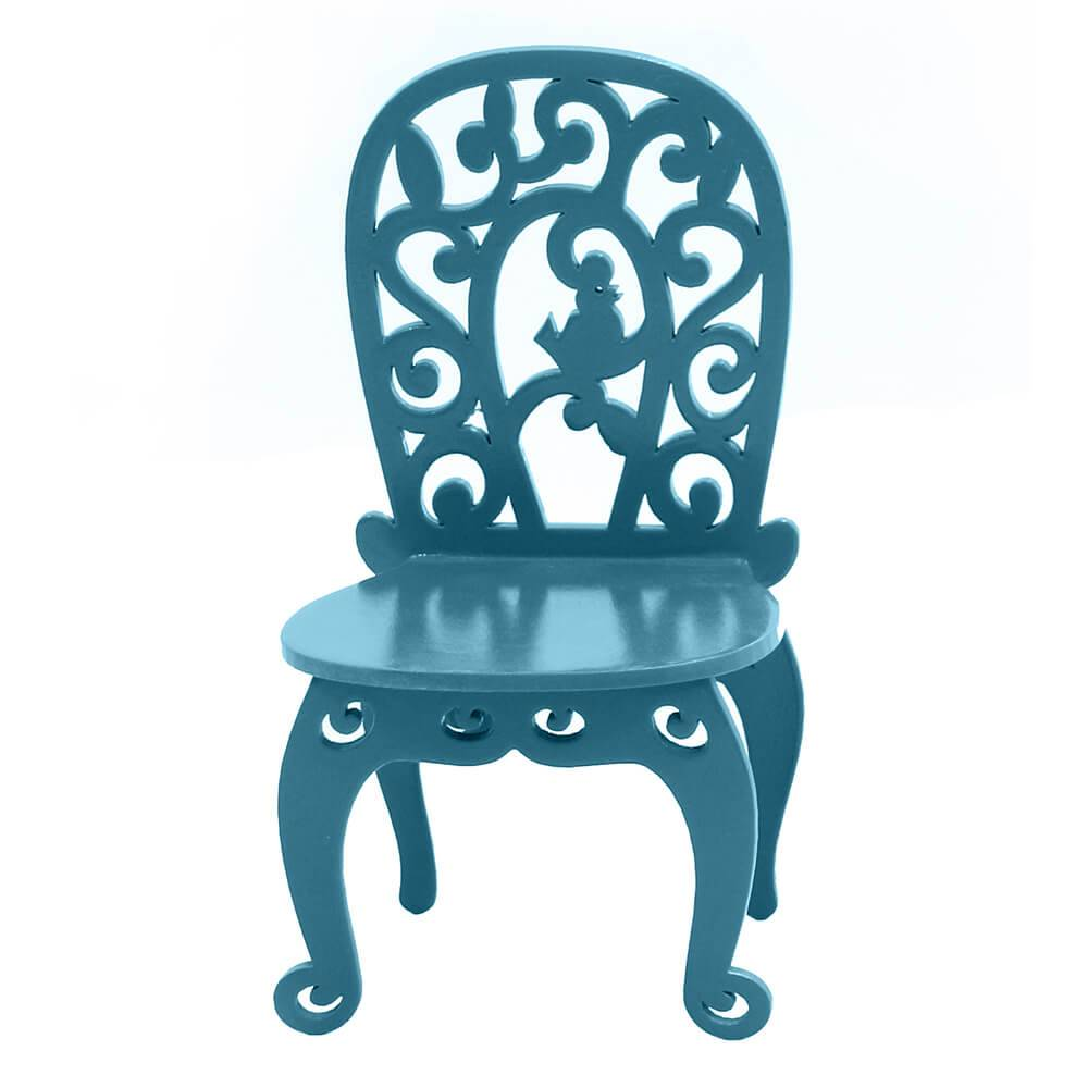 Adorno Cadeirinha Decorativa Curvada Aquamarine em MDF - 11,3x8 cm