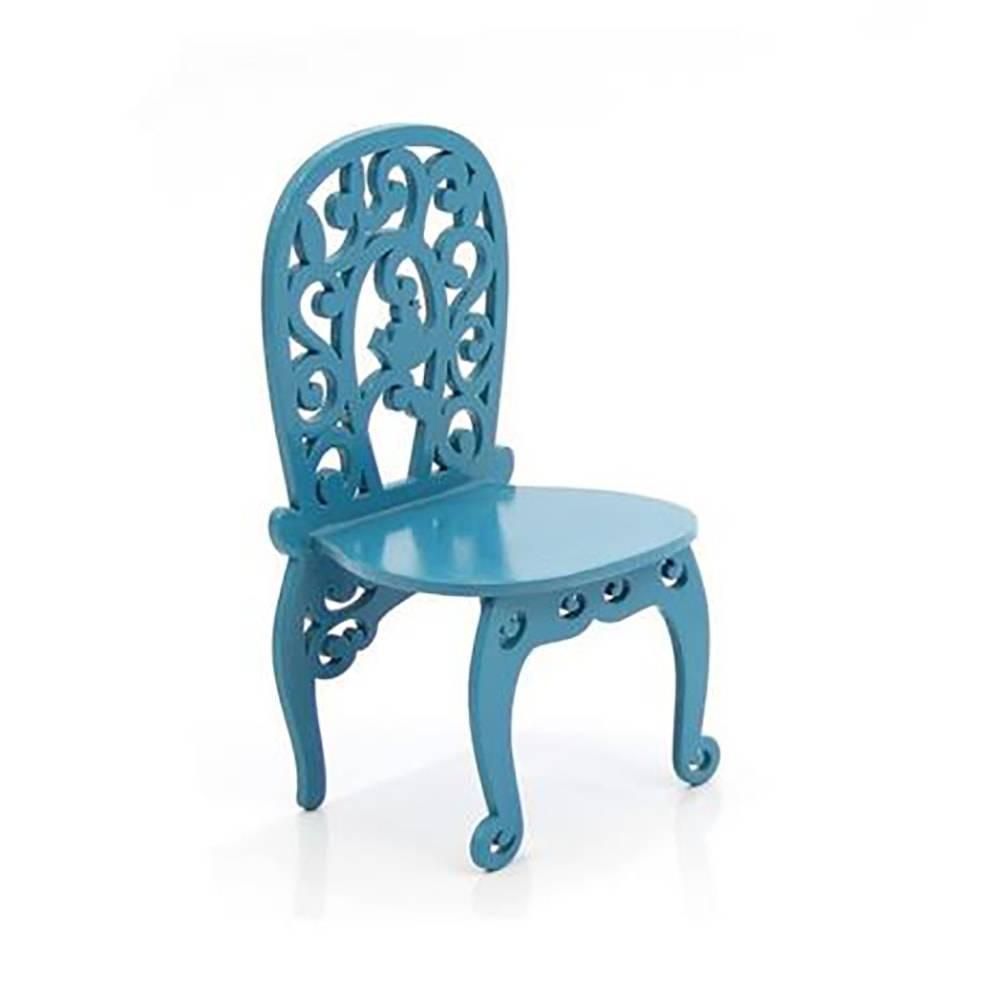 Adorno Cadeirinha Decorativa Curvada Azul em MDF - 11,3x8 cm