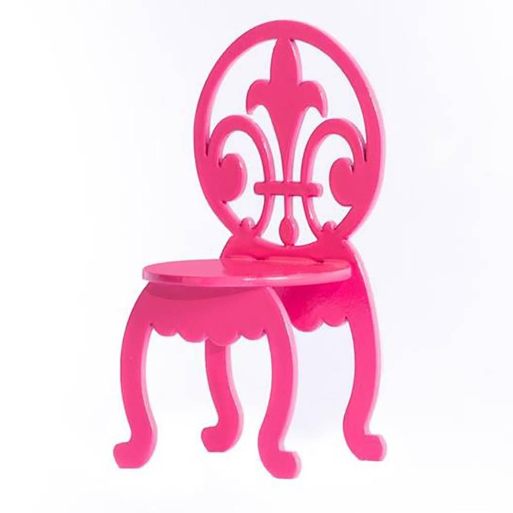 Adorno Cadeirinha Rosa Pink Encosto Vazado em MDF - 13x6,5 cm