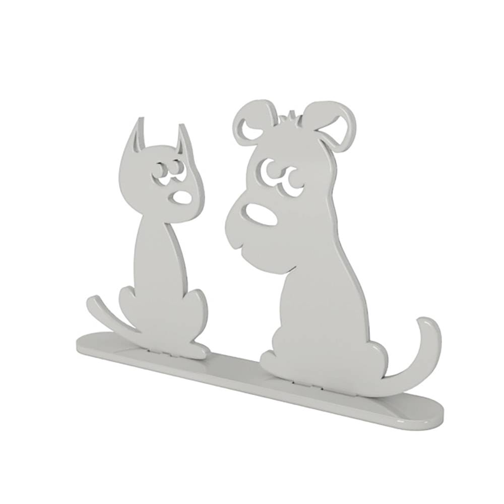 Adorno Cão e Gato Prata em MDF Laqueado - 26x19 cm