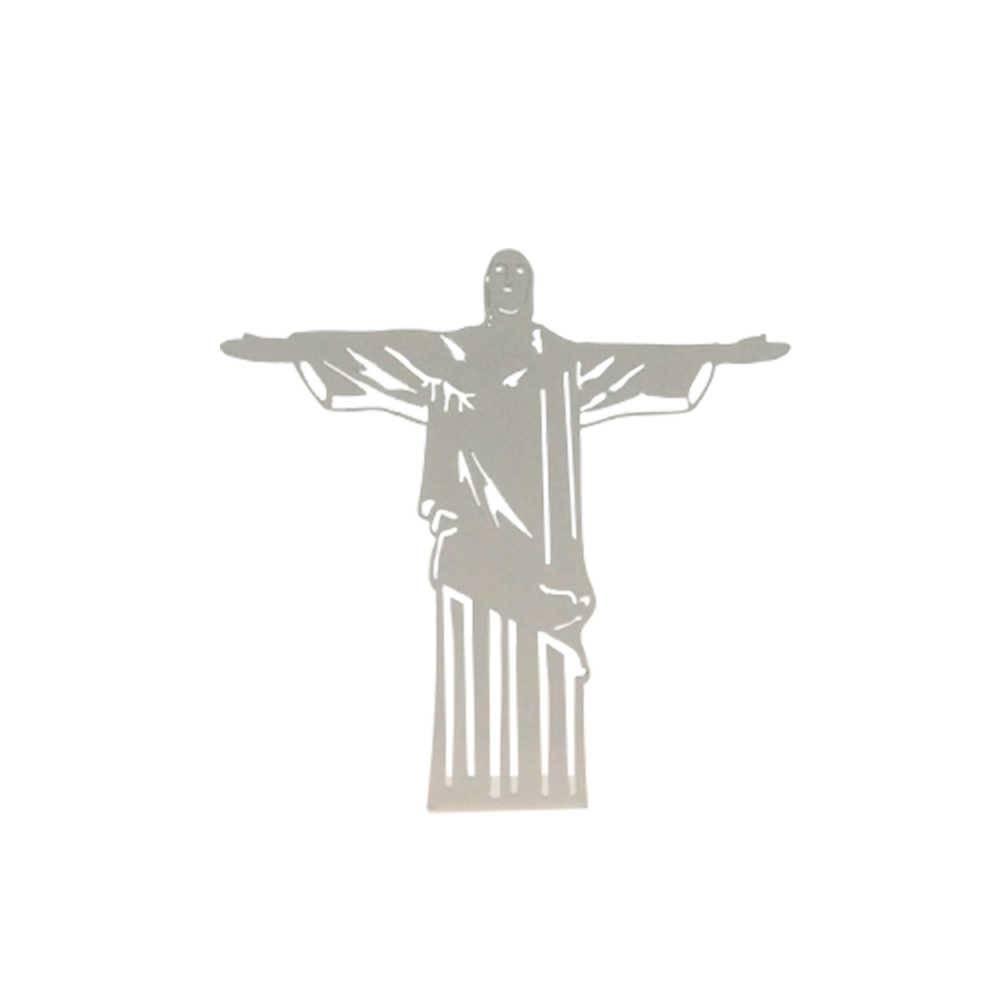Adorno Cristo Redentor Branco Fosco em Metal Vazado - 16x16 cm