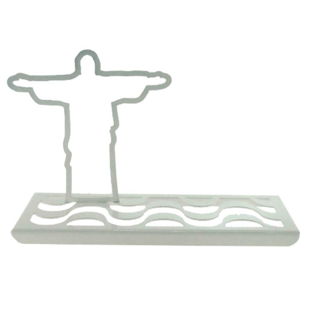 Adorno Cristo Redentor Calçada de Copacabana Branco Fosco em Metal - 33x20 cm