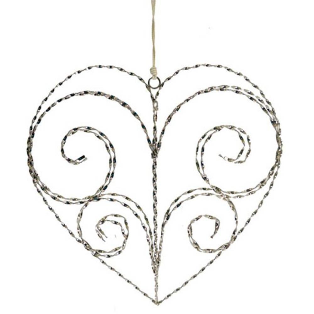 Adorno Decorativo Coração Aramado em Metal - 57x22 cm