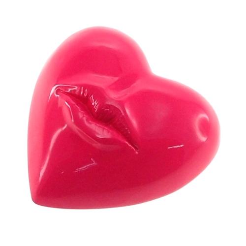 Adorno Decorativo Coração Rosa em Resina - 13x12 cm