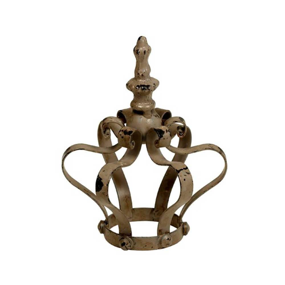 Adorno Decorativo Coroa Antique Cinza Pátina em Metal - 16x12 cm