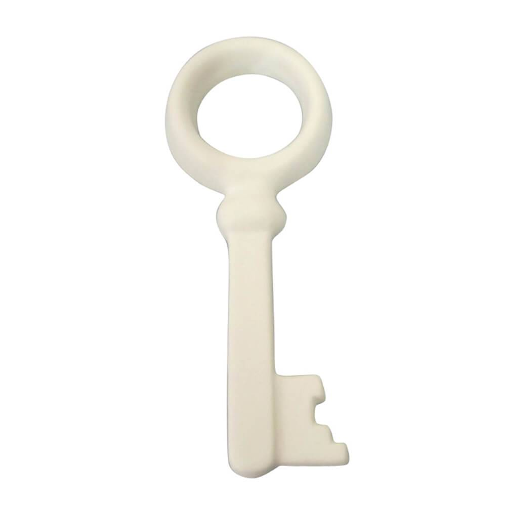 Adorno Decorativo Keys Circle Branco em Cerâmica - Urban - 18x7 cm