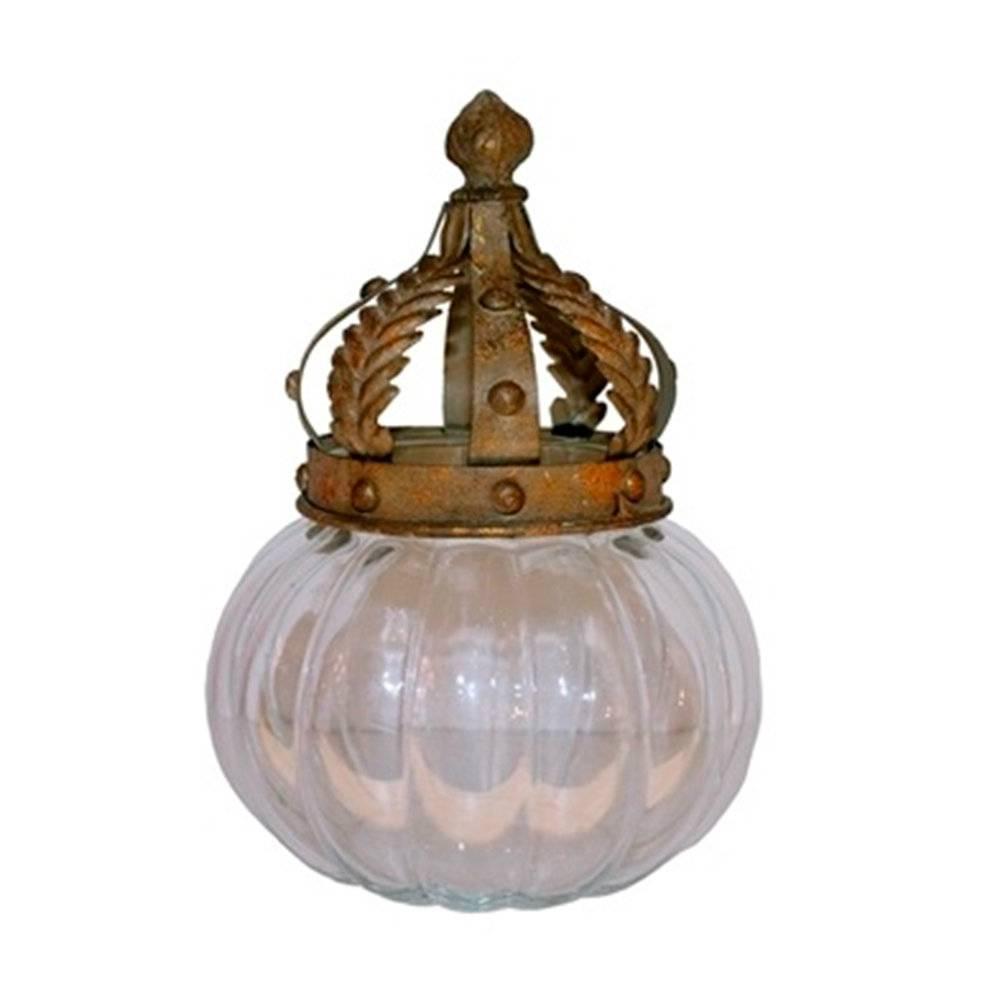Adorno Decorativo Pote Coroa Luxo em Vidro - 23x17 cm