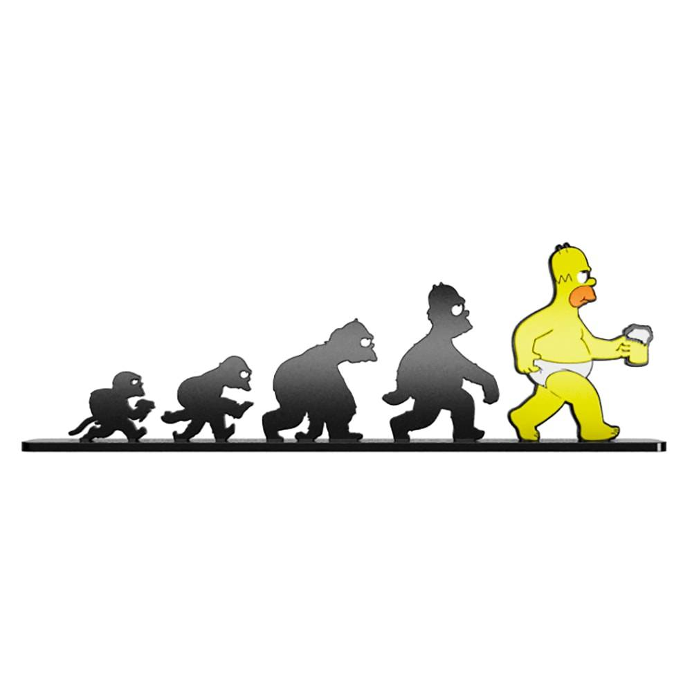 Adorno Evolução Simpsons em MDF Laqueado - 41x13,4 cm