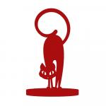 Adorno Gato Arisco Vermelho em MDF Laqueado - 19x13 cm