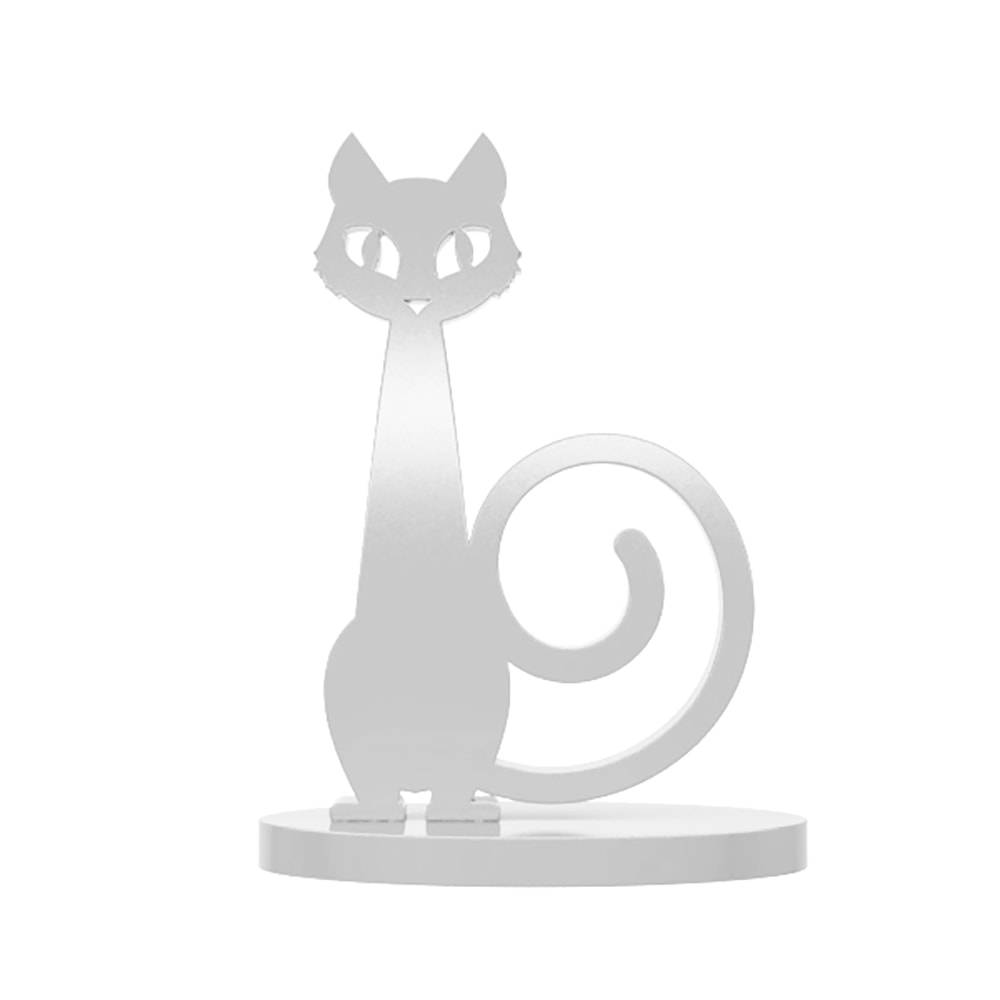 Adorno Gato Dócil Branco em MDF Laqueado - 19x13 cm