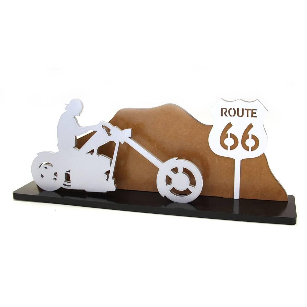 Adorno Moto Estrada Route 66 em MDF Laqueado - 40x15 cm