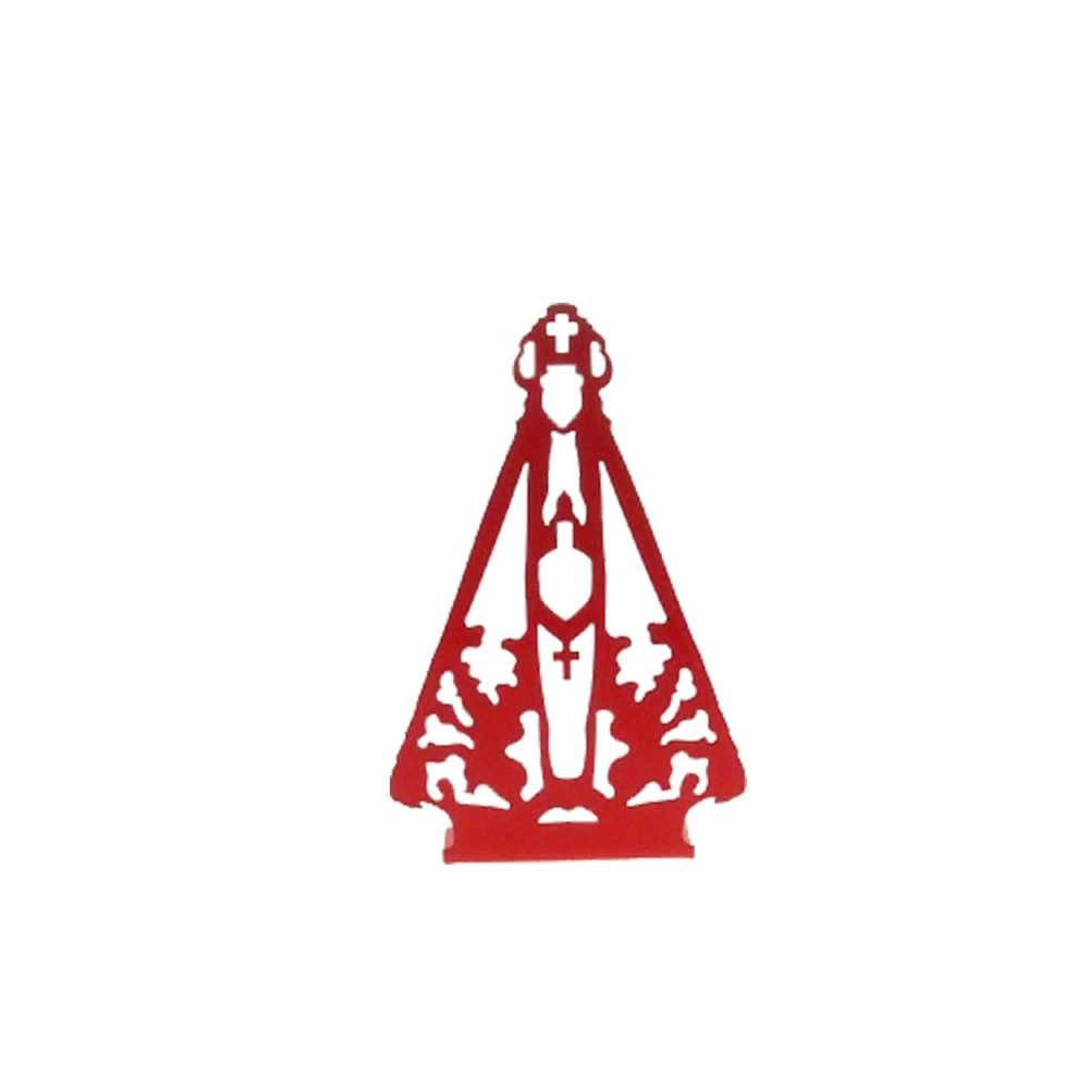 Adorno Nossa Senhora Vermelho Fosco em Metal Vazado - 16x10 cm