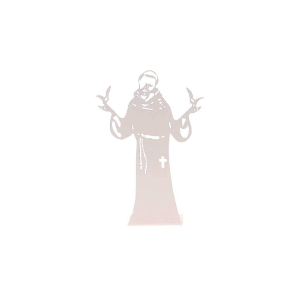 Adorno São Francisco Branco Fosco em Metal Vazado - 16x10 cm